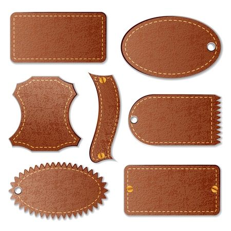 vector illustration of blank leather textured label