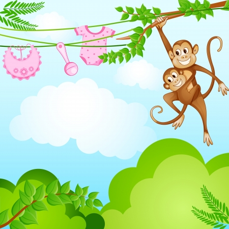 Monkey Swinging with Kid Stock Photo - 19259014