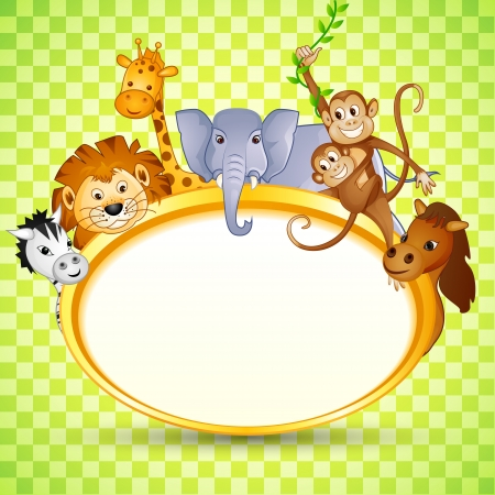 cartoon  lion: Animal in Baby Shower Invitation Stock Photo