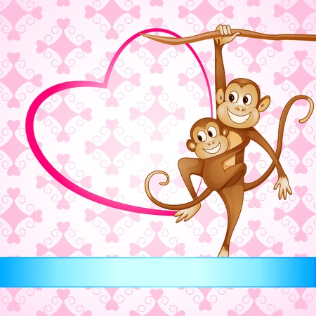 cute cartoon monkey: Monkey Swinging with Kid Stock Photo