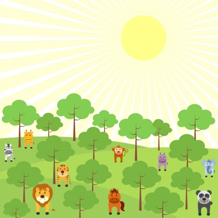 grass cartoon: Animals in Jungle