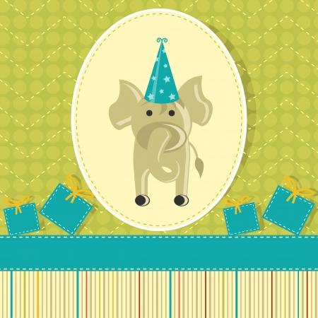 Elephant in Birthday Card Stock Photo - 19259546