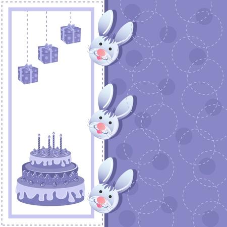 Rabbits in Birthday Card Stock Photo - 19259542