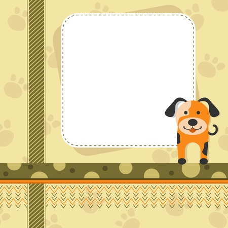 Puppy in Childish Background Stock Photo - 19259544