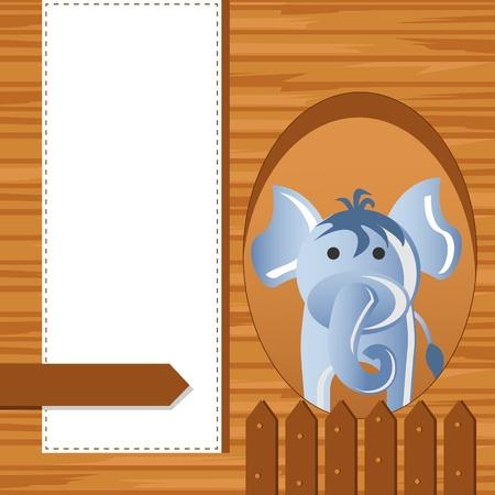 editable invitation: Elephant on Childish Background