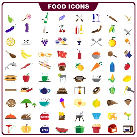 Colorful Food Icon Vector