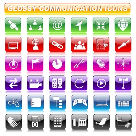 Glossy Communication Button Stock Vector - 19372691