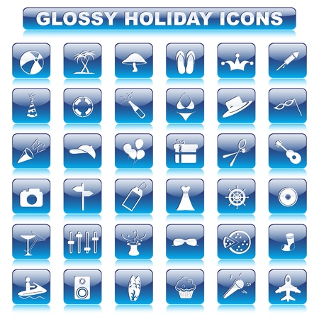 Glossy Holiday Button Vector