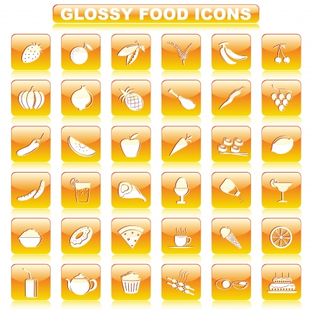 Glossy Food Button Vector