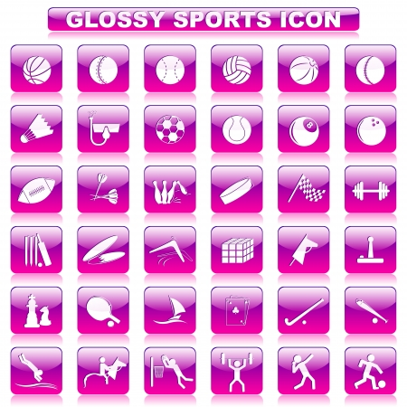 Glossy Sports Button Vector