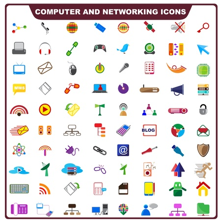 Colorful Computer and Networking Icon Stock Photo - 19372697