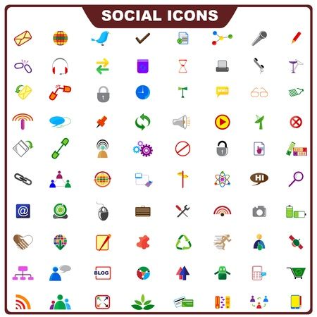 information society: Colorful Social Icon Illustration