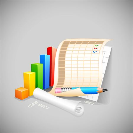 vector illustration of bar graph with business document Stock Vector - 19372700