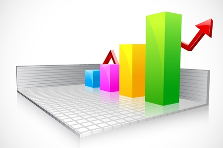 vector illustration of business bar graph with ascending arrow Stock Vector - 19372701
