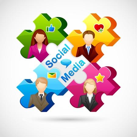 vector illustration of human jigsaw puzzle of Social media Stock Vector - 19504166