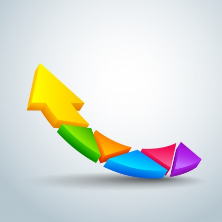 curve arrow: vector illustration of upward arrow with colorful pieces