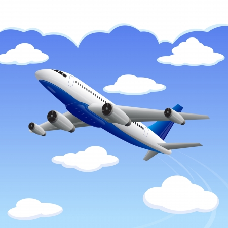 departure: vector illustration of airplane travelling to your destination