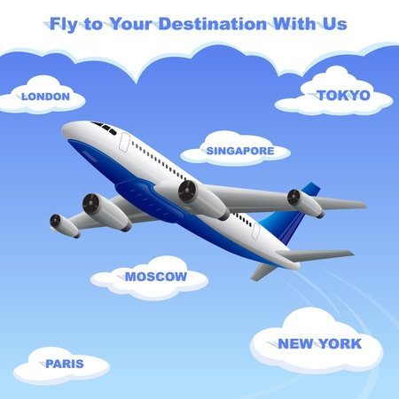 takeoff: vector illustration of airplane travelling to your destination