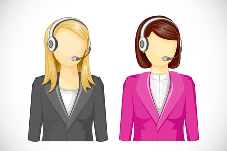 call center female: vector illustration of call center woman icon