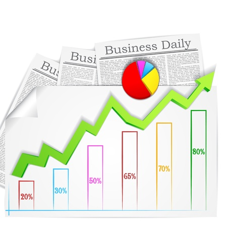article marketing: vector illustration of graph and chart with business newspaper