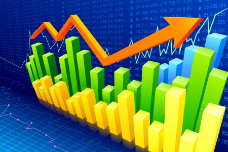 vector illustration of financial bar graph with rising arrow Vector
