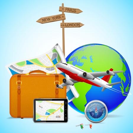 suitcase packing: Travel Design Illustration