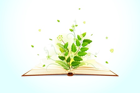 Plant growing on Open Book Vector