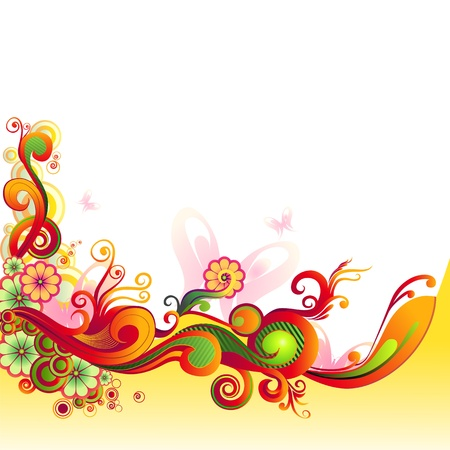 Colorful Floral Swirl Stock Vector - 19658846