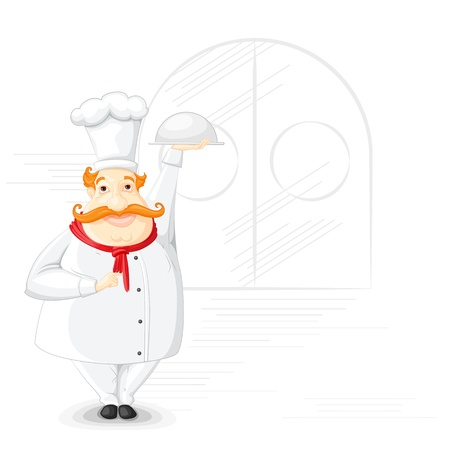 Chef holding Cloche Stock Vector - 19658955