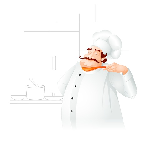 Chef cooking in kitchen Stock Vector - 19658958
