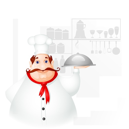 Chef holding Cloche Stock Vector - 19658956