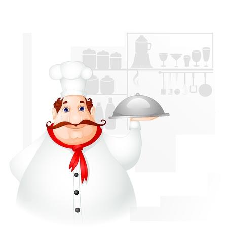 Chef holding Cloche Stock Vector - 19658956