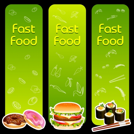 eating fast food: Fast Food Menu Template Illustration