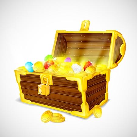 cofre del tesoro: cofre del tesoro lleno de monedas de oro y piedras preciosas