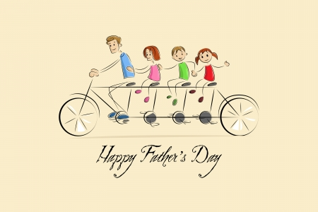 cycle ride: Father s Day Background with father and kids