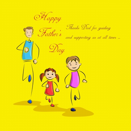 Father s Day Background with father and kids Vector
