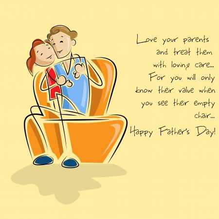 Father and daughter in Father s Day background Vector