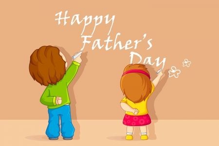 Kids writting Father s Day message Vector