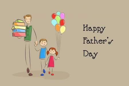 papa: Father s Day Background with father and kids