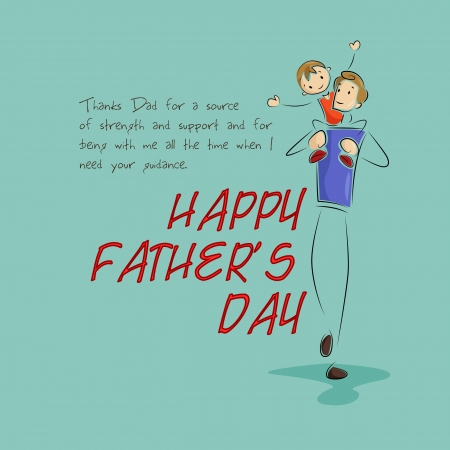 happy Fathers Day: Padre e hijo en el fondo el D�a del Padre s Vectores
