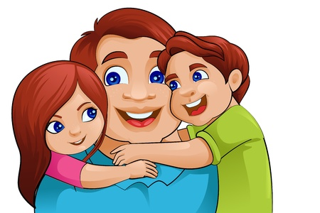 siblings: Father s Day Background with father and kids