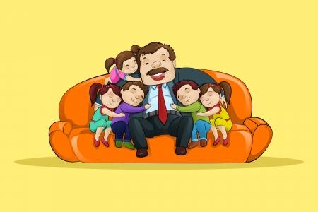 padre e hija: Padre con el ni�o sentado en el sof� Foto de archivo