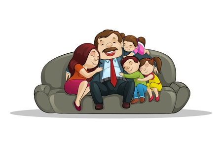 little boy and girl: Happy Family sitting in Couch Illustration