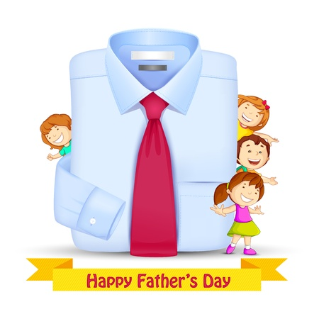 Father s Day Background with Kids Vector