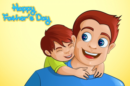 shoulder ride: Father and son in Father s Day background