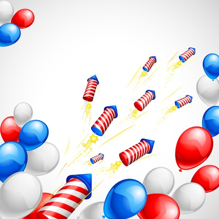 American Flag colored Balloon and Firecracker Vector