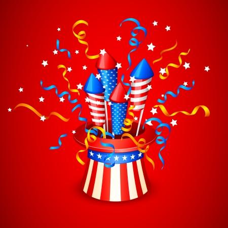 american flag fireworks: Firecracker from American Flag Illustration