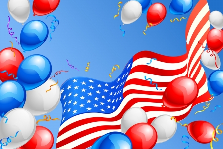 American Flag with Balloon Stock Photo - 20058606