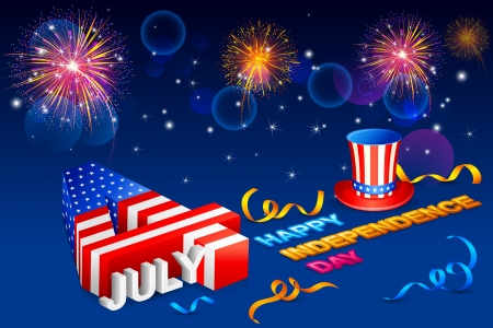 july: Fourth of July American Independence Day Illustration