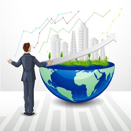 scalable: Happy Businessman with Building on Earth Illustration